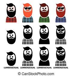 ícones, lumberjack, lumbersexual, homem