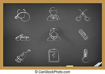 ícones, médico, drew, quadro-negro