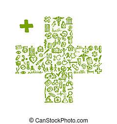 ícones, médico, forma transversal, desenho, seu