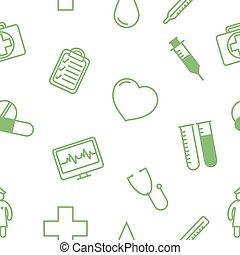 ícones, médico, pattern., seamless, ilustração, vetorial, fundo
