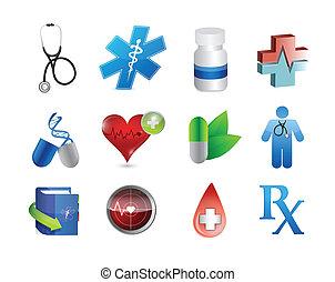 ícones médicos, e, ferramentas, ilustração, desenho