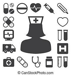 ícones médicos, jogo, ., ilustração