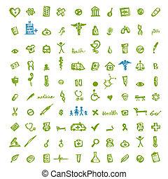 ícones médicos, para, seu, desenho