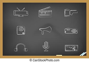 ícones, mídia, drew, quadro-negro