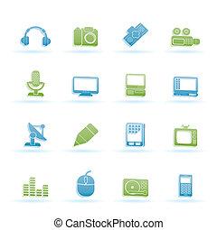 ícones, mídia, equipamento