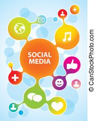 ícones, mídia, molécula, vetorial, social, estrutura