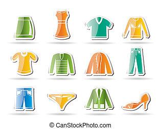 ícones, macho, roupa, femininas