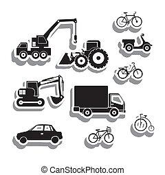 ícones, maquinaria