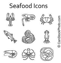 ícones, marisco, vetorial, illustration., set.