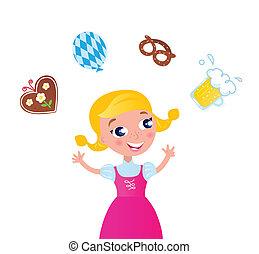 ícones, menina, octoberfest:, juggling, bavarian, vestido cor-de-rosa