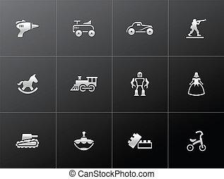 ícones, -, metálico, brinquedos