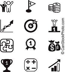 ícones, meta, conceito, negócio