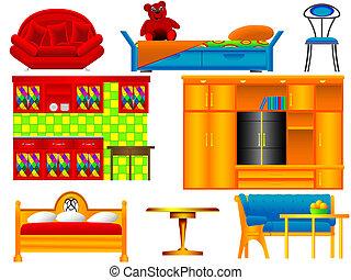 ícones, mobília