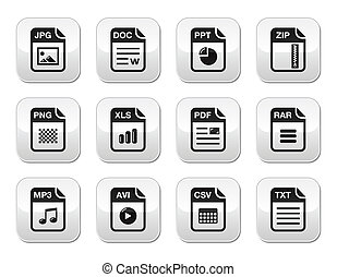 ícones, modernos, gre, pretas, arquivo, tipo