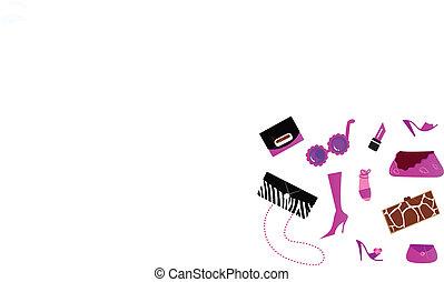ícones, mulheres, (, sacolas, -, sapatos, ), acessórios, cor-de-rosa