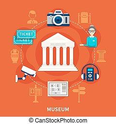 ícones, museu, apartamento, jogo