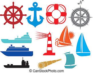 ícones, náutico, marinho