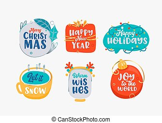 ícones, natal, jogo, estação, feliz, etiquetas, feliz, ano, saudação, fundo branco, elementos, isolado, novo, feriados