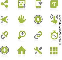 ícones, natura, sistema, interface.