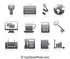 ícones negócio, 2, silueta, série