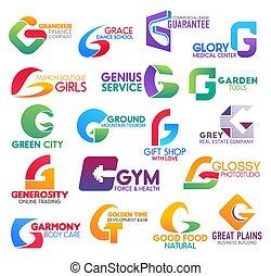 ícones negócio, carta g, identidade incorporada