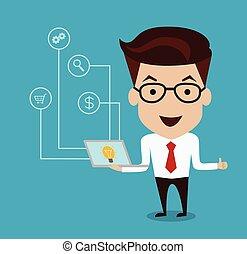 ícones negócio, computador laptop, homem, ter, feliz