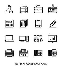 ícones negócio, e, ícones escritório
