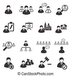 ícones negócio, jogo, liderança