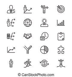 ícones, negócio, magra