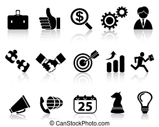 ícones, negócio, pretas, jogo, série