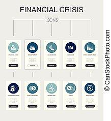 ícones, nfographic, governo, ui, dívida, financeiro, crise,...