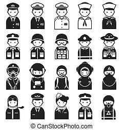 ícones, oficial, uniforme, pessoas, &