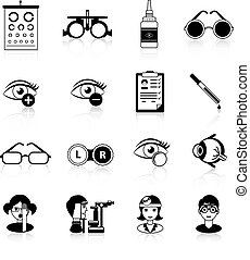 ícones, oftalmologia, pretas, jogo, branca