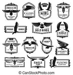 ícones, pássaro, águia, falcão, falcão
