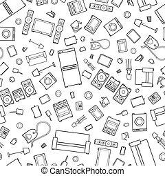 ícones, padrão, casa, seamless, esboço, confusão, dispositivo