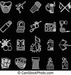 ícones, paintball, vetorial, linha, branca