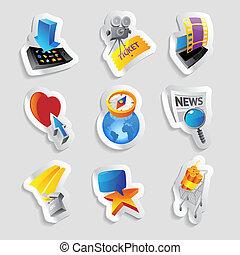 ícones, para, mídia