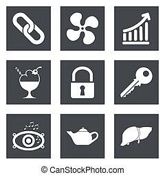 ícones, para, projeto teia, jogo, 20