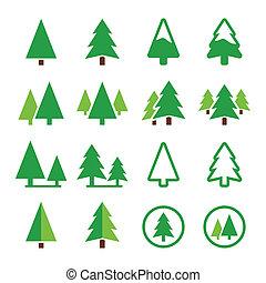 ícones, parque, árvore pinho, vetorial, verde
