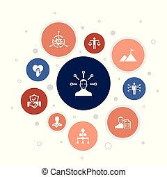 ícones, passos, 10, bolha, confiança, honestidade, ...