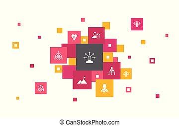 ícones, passos, pixel, 10, confiança, honestidade, ...