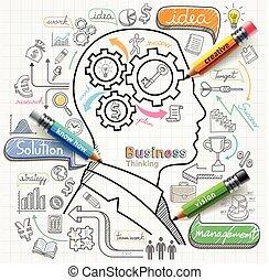 ícones, pensando, homem negócios, set., doodles, conceito