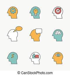 ícones, pensando, processo, human, linha, cor