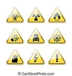 ícones, perigo, aviso assina