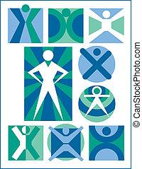 ícones, pessoas, cobrança, 6