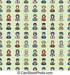 ícones, pessoas, jogo, ocupações, eps10