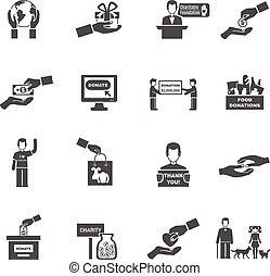 ícones, pretas, caridade, jogo, branca