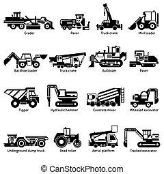 ícones, pretas, construção, máquinas, jogo, branca