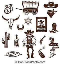 ícones, pretas, jogo, boiadeiro, branca
