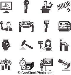 ícones, pretas, jogo, leilão, branca